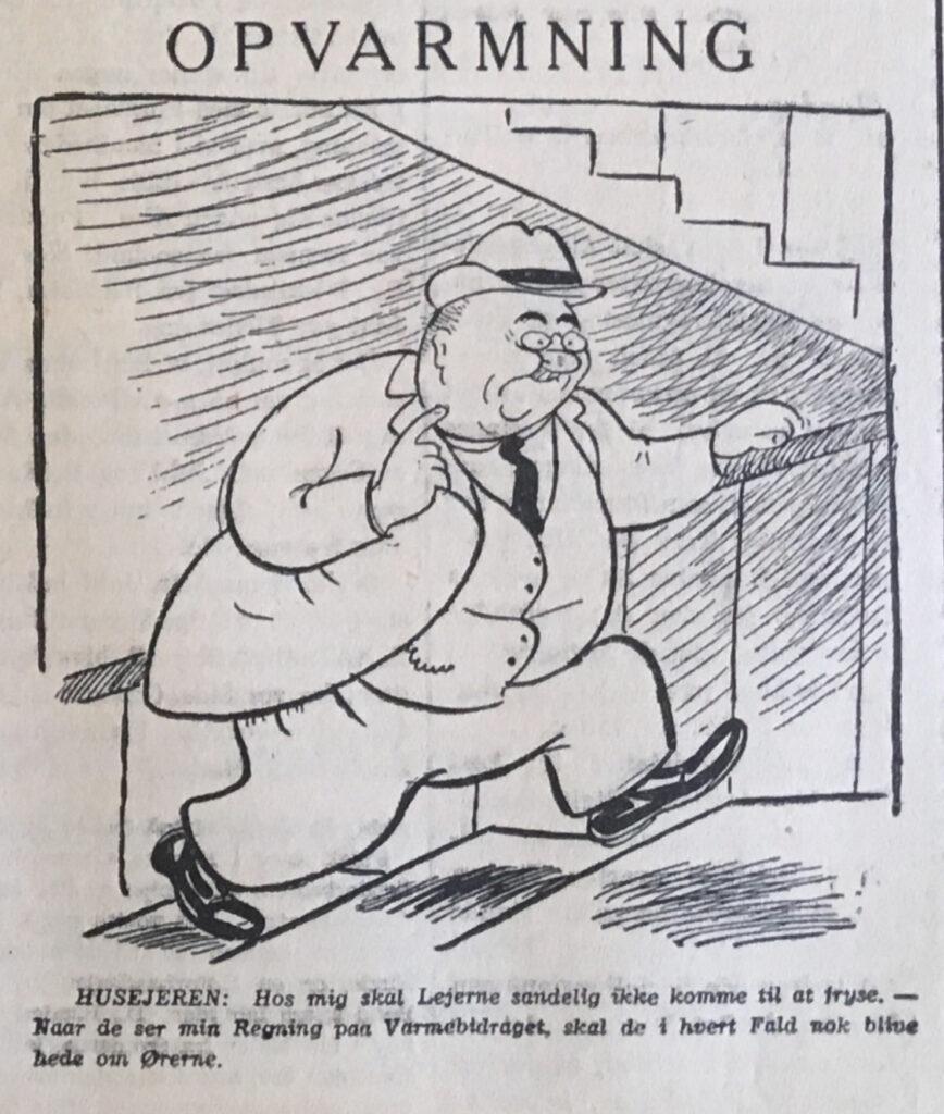 Tegning fra avisen Socialdemokraten, udkommet februar 1940