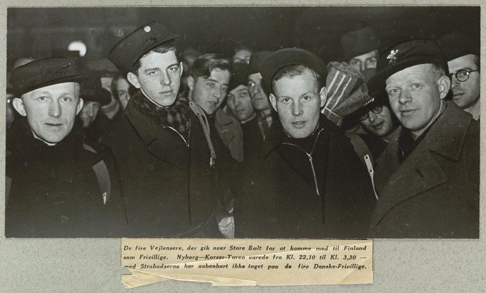 Fire personer forlod Vejle den 15. Februar 1940 for ar drage i den finske-russiske Vinterkrig