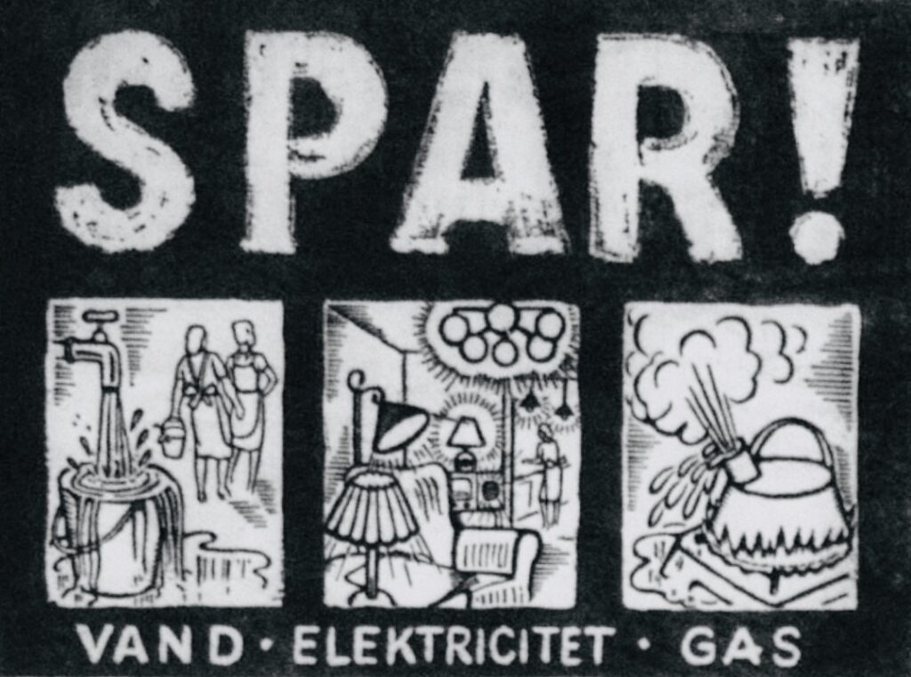 På grund af de stramme tider bringes der i 1940 flere opfordringer i dagbladene til at reducerer forbruget af vand, elektricitet og gas. Ovenstående bragt i Kolding Folkeblad, 9. Marts 1940