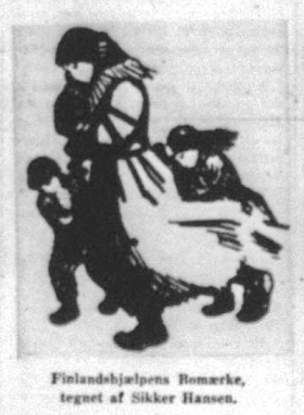 Finlandshjælpen Bomærke, tegnet af Sikker Hansen. Efter gengivelse i Kolding Folkeblad 23. marts 1940.