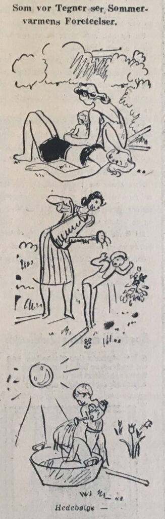 Kolding Socialdemokrats tegner om sommer-varmens foreteelser. Trykt i avisen 20. juni 1940. Digitaliseret af krigendagfordag.dk